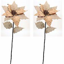 "Natural Burlap Cork Poinsettia Stems Set/2 Christmas Flowers 10"" NEW Lot XS3438"