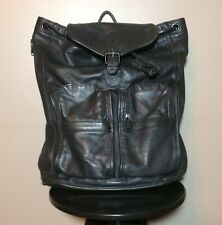 TUMI Black Leather Backpack with Drawstring Closure CIRCA MID-1990's Preowned