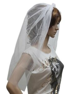 NEW HEAD/HAIRBAND HEN NIGHT HALLOWEEN FANCY DRESS PARTY NIGHT ANGEL WHITE VEIL