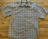 Orvis Button Up Mens Shirt Camp Blue Green Brown Plaid 100% Cotton Large