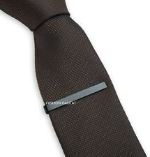 Mens Boys 4CM Gun Grey Black Stainless Steel Skinny Tie Clip Clasps Bars Pins