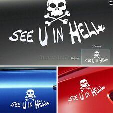 SEE U IN HELL Skull Head Pattern Car Auto Turbo Windshield Decal Sticker Decor