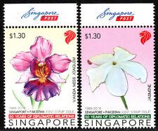 Singapore 1800-1801, MNH. singapore - Pakistan,Diplomatic Relations.Flowers,2016