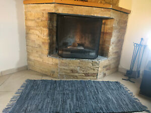 Rustic Leather Rug GREY Carpet Hearth Fire Resistant