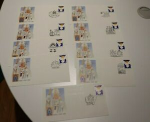 1986 PAPAL VISIT 36c PEACE STAMP SET OF 9  COVER CANCELS - POPE JOHN PAUL