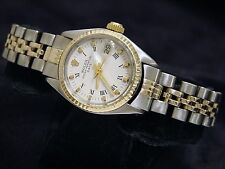 Vintage Rolex Date Lady 2Tone 14K Yellow Gold Steel Watch White Roman Dial 6517