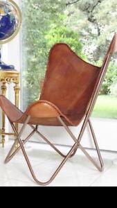 Handmade Vintage Genuine Classic Tan Leather Butterfly Chair BKF Sleeper Seat