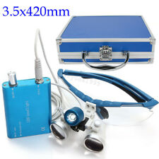 Dental Surgical Binocular Loupes 3.5x 420 + LED Head Light Lamp +Metal Case Blue
