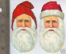 Pair Vintage Santa Head Scraps - German - Zoeke