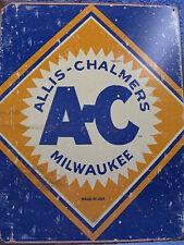 Allis Chalmers Logo Milwaukee Tin Metal Sign Farm Tractor Farming Barn