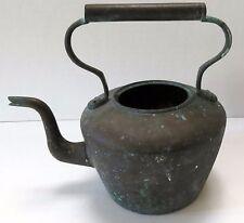 Vintage Antique Copper Dovetailed Gooseneck Spout Tea Pot Kettle