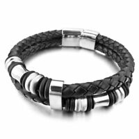Men Jewelry Silver Stainless Steel Genuine Black Leather Bracelet Magnetic Clasp