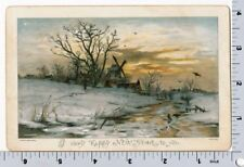 Victorian New Year Card - Country Cottage at Sunset in Snow - Wirths Brothers