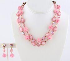 Regency Pink Crystal Beaded Necklace & Earrings - Givre Art Glass  - orig. Tag