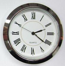 "2-1/8"" (55MM) PREMIUM QUARTZ CLOCK Insert, Silver Bezel, Metal Case, Roman"