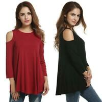 Women's Cold Shoulder 3/4 Sleeve Solid Casual Loose Tunic Blouse Tops EHE8 02