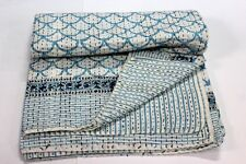 Indian Kantha Bed Cover Bedspread Cotton Hand Block Anokhi Print Quilt ms 80285