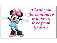 42 Personalised Minnie Mouse Stickers 3 for 2 Thank you Party Seal Birthday