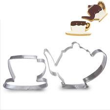 tea cup Teapot plunger cookie cutter set clock Alice Wonderland theme 4 pcs