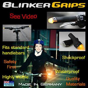BICYCLE CYCLING BAR GRIPS-BLACK HANDLEBAR INDICATORS-BLINKER GRIPS-TURN SIGNAL