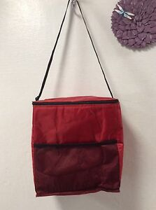 Large Insulated Food Container Carrier Zip Top Mesh Outside Pocket Red H16