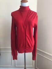beb29dbda85340 DONNA KARAN Bright Red Cashmere Turtleneck Sweater Set Cardigan! M