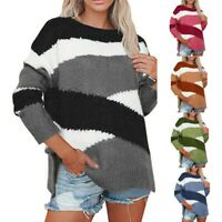 Women Sweater Crew Neck Color Block Long Sleeve Knit Jumper Pullover Tops UK