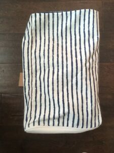 New West Elm Outdoor pouf cover pinstripe Ink MSRP $199