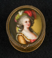 STUNNING French jewelry/pill box w/HAND-PAINTED portrait MARIE ANTOINETTE c1900