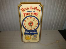 Vintage Pabst Blue Ribbon Sign Clock 1979 This is the Place Now is the time Cool