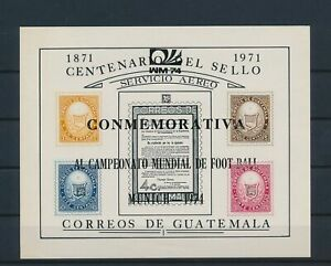 LO43046 Guatemala 1971 overprint stamp anniversary imperf sheet MNH