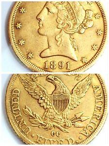 1891 cc Half Liberty Head Eagle, US $5 Dollar (Gold Coin) Carson City