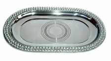 Indian Vintage Pure Stainless Steel Serving Dish Platter Oval Tray