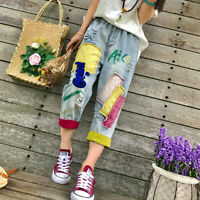 Retro Women/ladies Loose Jean Pants Splice Trousers Causal Embroidered Stylish