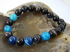 Mens Natural Gemstone Black Blue Lace Agate beaded Bracelet  + Velvet Bag