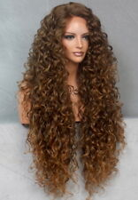 Full Lace Front Wig Extra Long Curly Blonde mix Heat Safe Heat Safe Brown mix