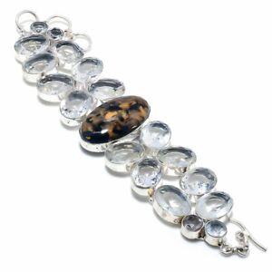 "Bronzite Jasper, White Topaz Handmade Ethnic Style Jewelry Bracelet 7-8"" U356"