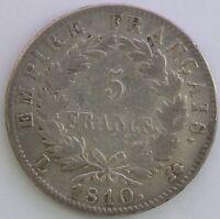 FRANCE 5 FRANCS NAPOLEON EMPEREUR 1810 L TB