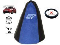 """Schaltmanschette Schaltsack Fur Ford Fiesta 2002-08 Leder Suede """"ST"""" Blau"""
