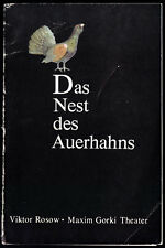 Theaterprogramm, Maxim Gorki Theater, Viktor Rosow; Das Nest des Auerhahns, 1981
