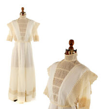 Vintage 1900's Edwardian White Cotton + Lace Gibson Girl Summer Walking Dress S
