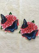 Pretty Butterflies On Flower - 2 - Iron-On Appliques (B)