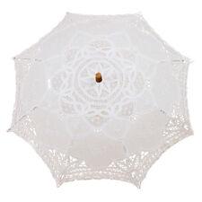 Schirm Victorian Spitze Sonnenschirm Hochzeit Braut Umbrella weiss 38x64cm O5S2