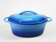 NEW - BLUE 24cm 2.8L CAST IRON OVAL CASSEROLE PAN POT DISH SAUCEPAN DUTCH OVEN
