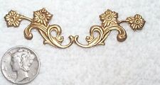 VINTAGE OPEN CUT DETAILED FLORAL DESIGN BRASS STAMPINGS OR FINDINGS 6 PIECES