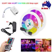 32.8FT 10M RGB LED Strip Light TV Backlight 44 Key Remote + 12V DC Power Kit AU