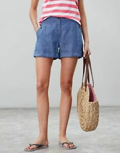 Joules Womens Lydia Linen Shorts - Blue - 10