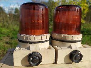 Pair Vintage German amber glass  ship signal light beacon