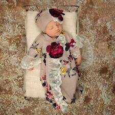 NEW gown, cap, blanket Haute Baby Autumn Blooms Boutique Take-me-Home Set