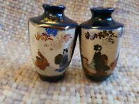 """Pair of Antique blue & white Japanses Satsuma 3"""" Vases hexagonal miniatures"""